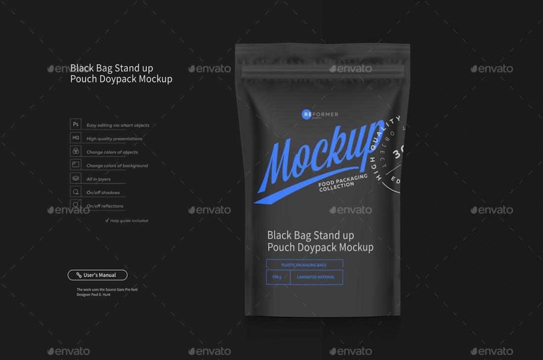 black coffee bag mockup