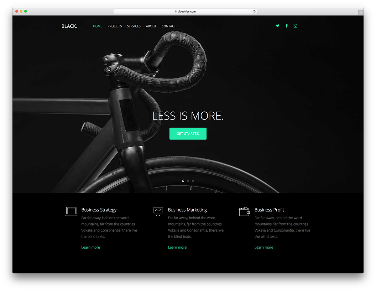 Black Is A Obviously Dark Free Simple Website Template With Absolutely Phenomenal Modern Touch To It Minimal And Elegant Which Will Surely Intrigue