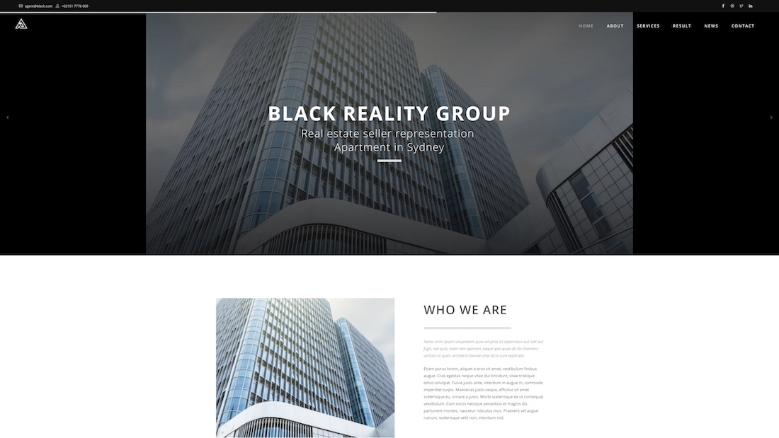 black professional website template