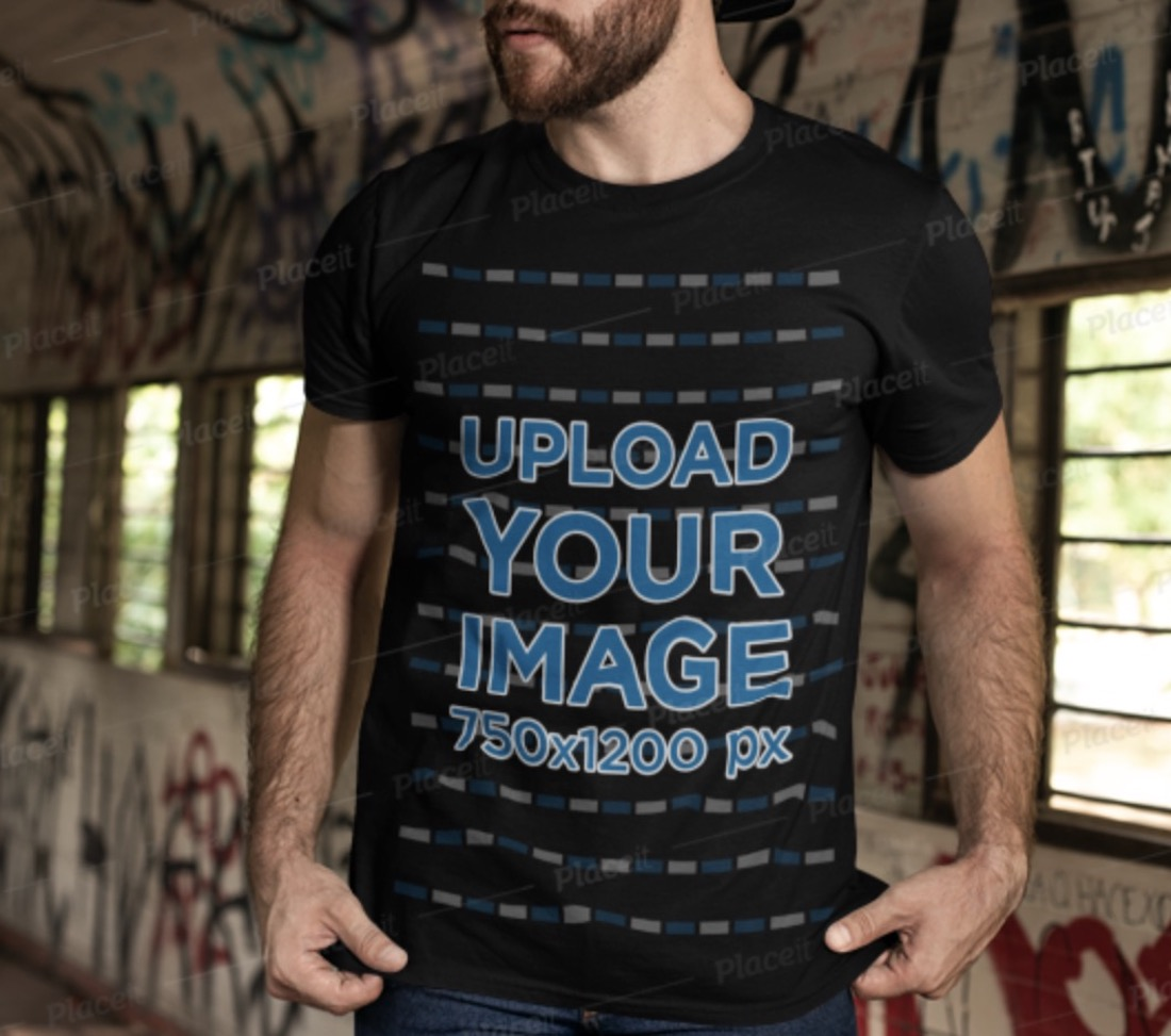 black t-shirt mockup featuring a bearded man with a cap