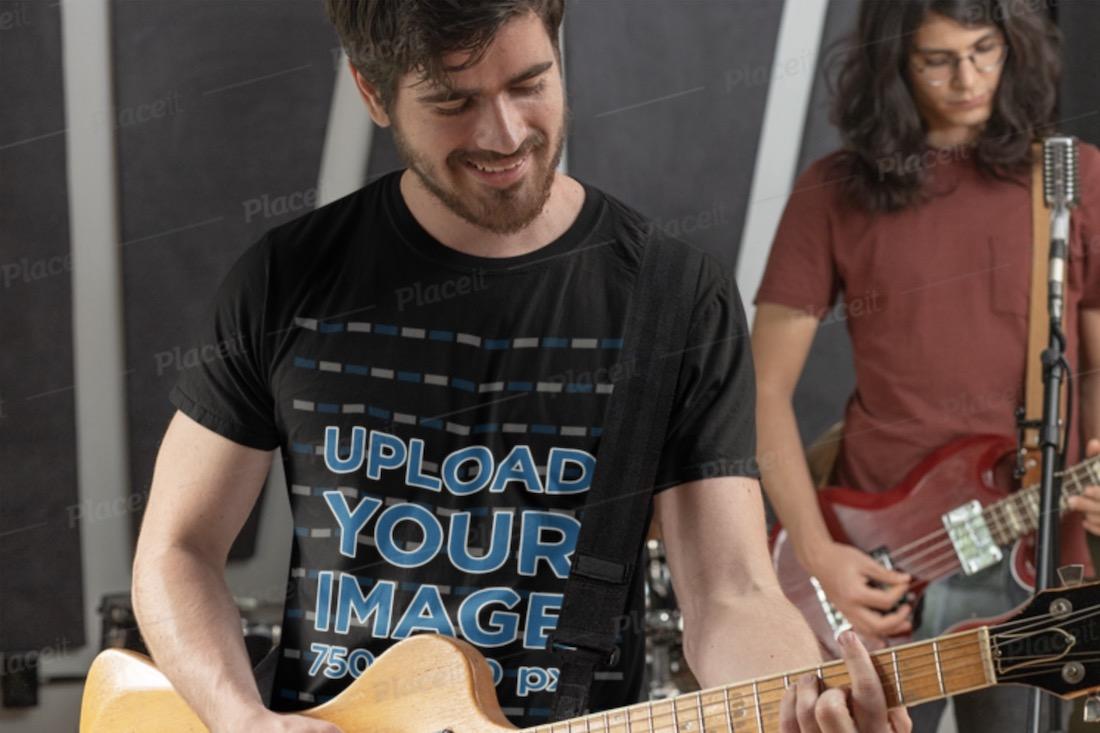 black t-shirt mockup of a man playing guitar