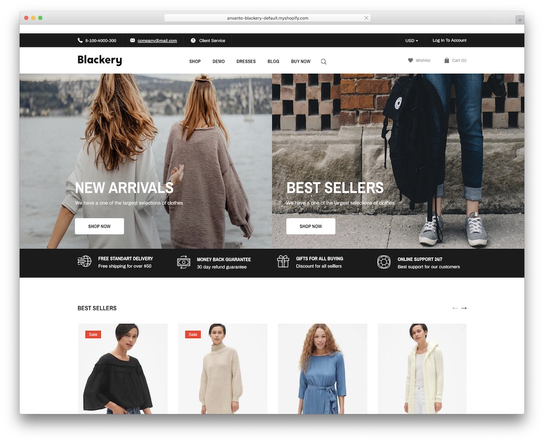 blackery shopify theme for t-shirts