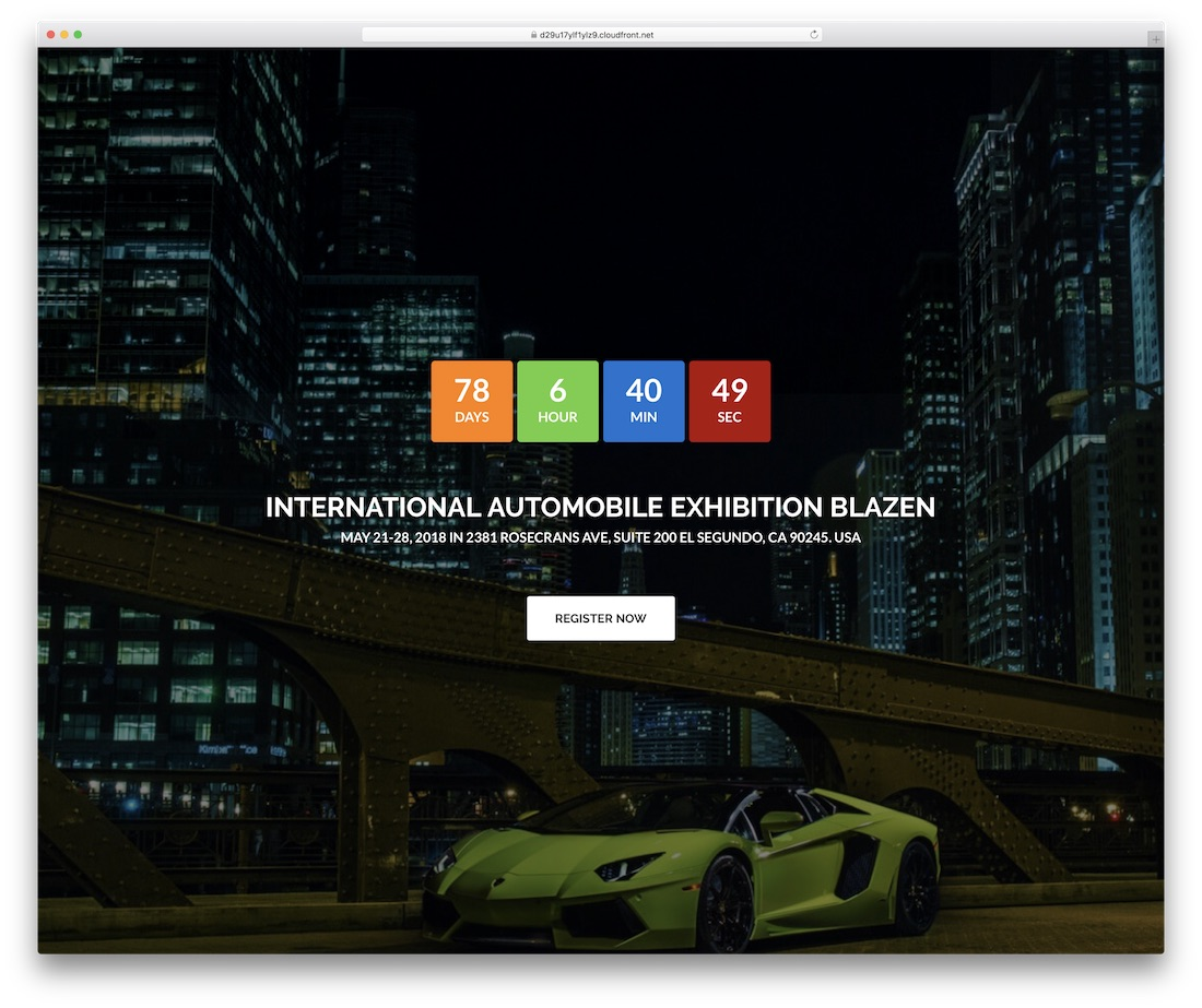 blazen event website template