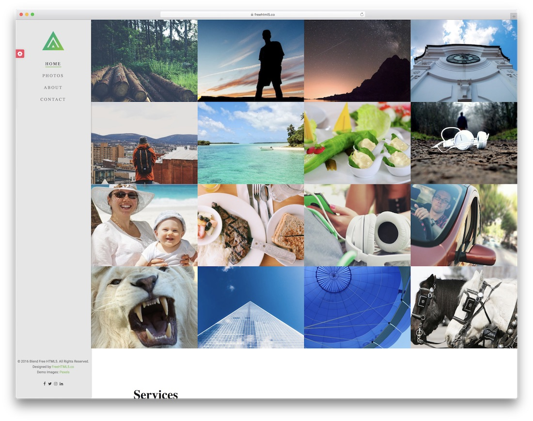 blend best free photography website template