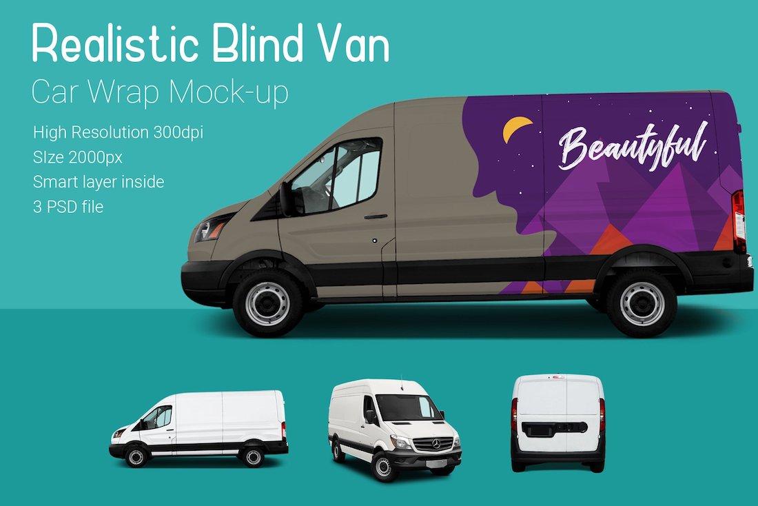 blind van car mock-up