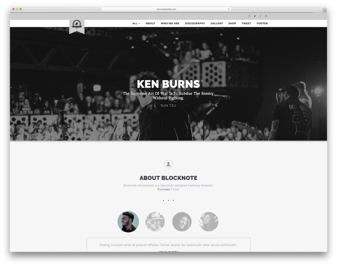 blocknote bootstrap music template