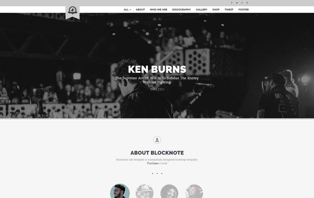 blocknote musician website template