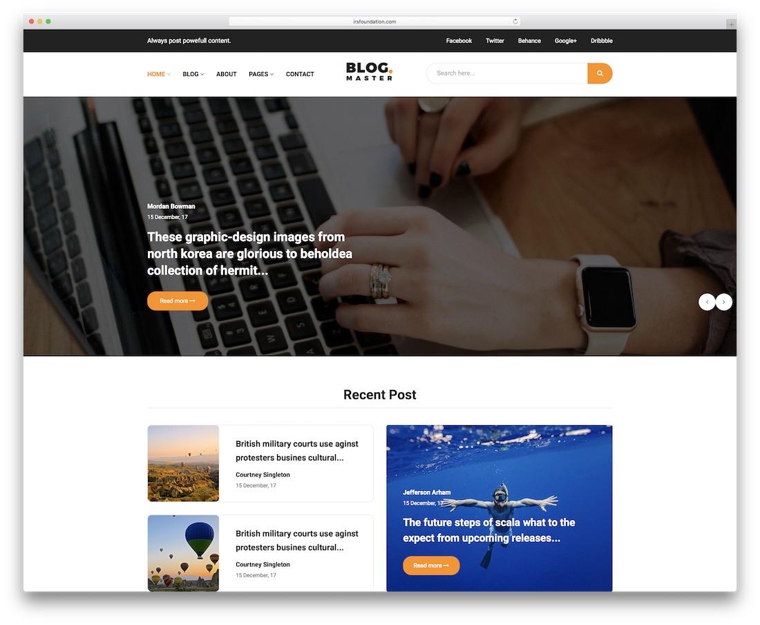 blog master news website template
