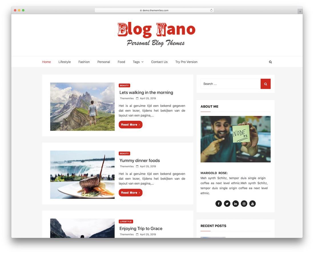 blog nano free flat design wordpress theme