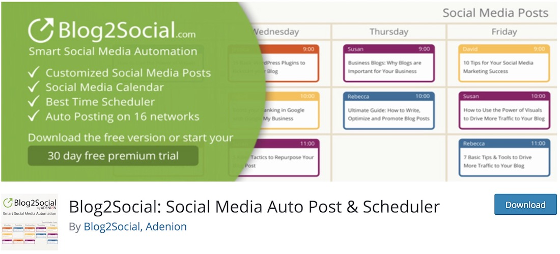 blog2social content syndication wordpress plugin