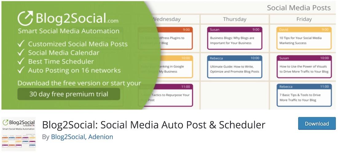 blog2social essential free wordpress plugin