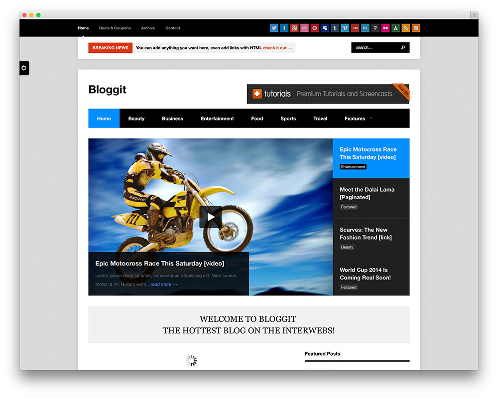 bloggit blog style wordpress theme