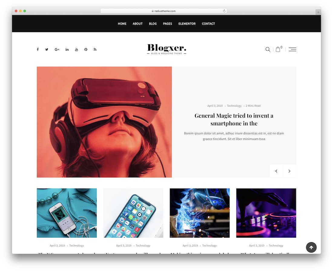 blogxer technology news wordpress theme