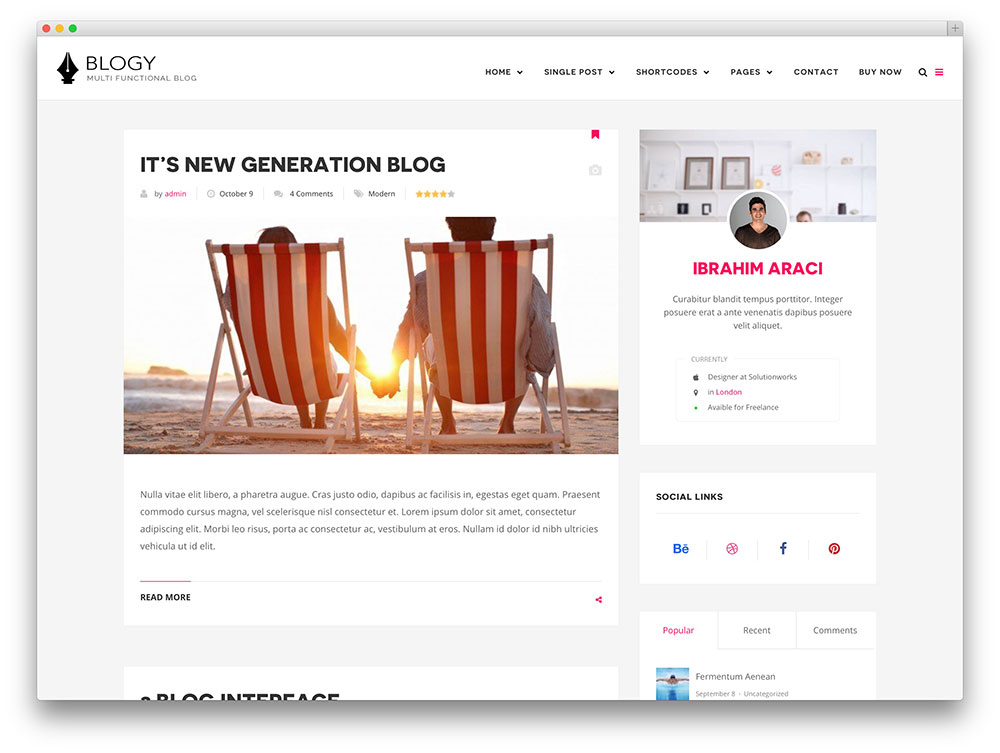 blogy creative blogging theme