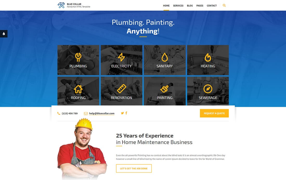blue collar HTML construction company template