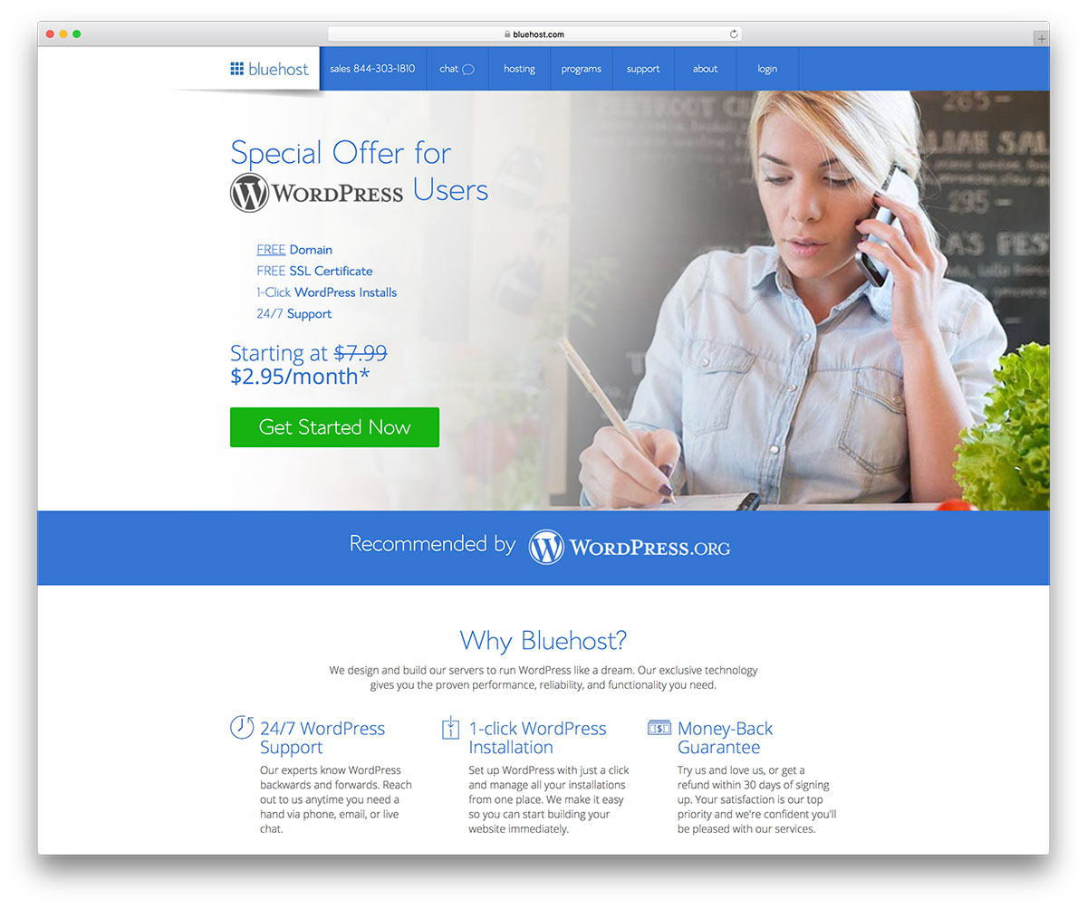 Cheap WordPress hosting by Bluehost
