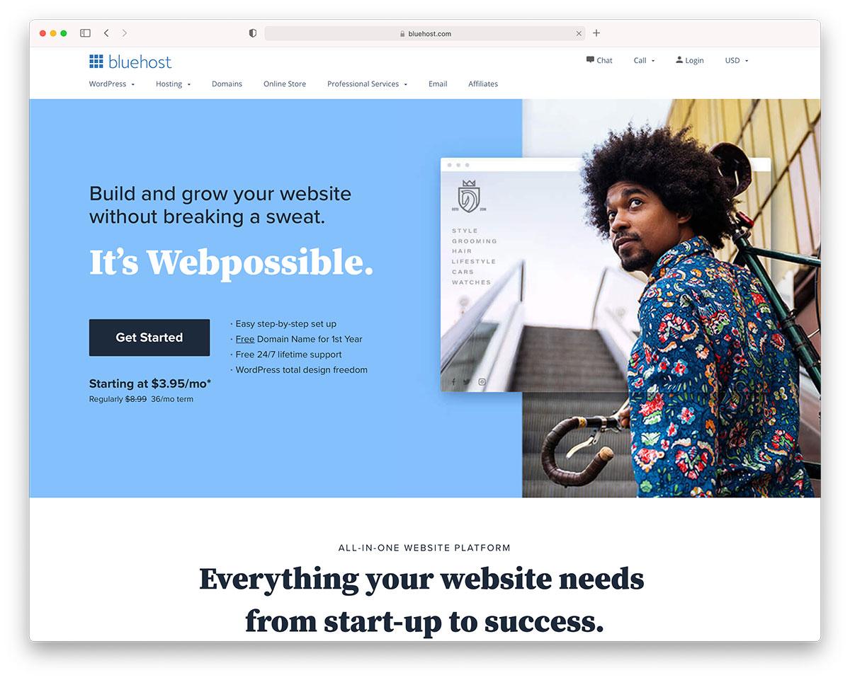 Bluehost - musician website hosting