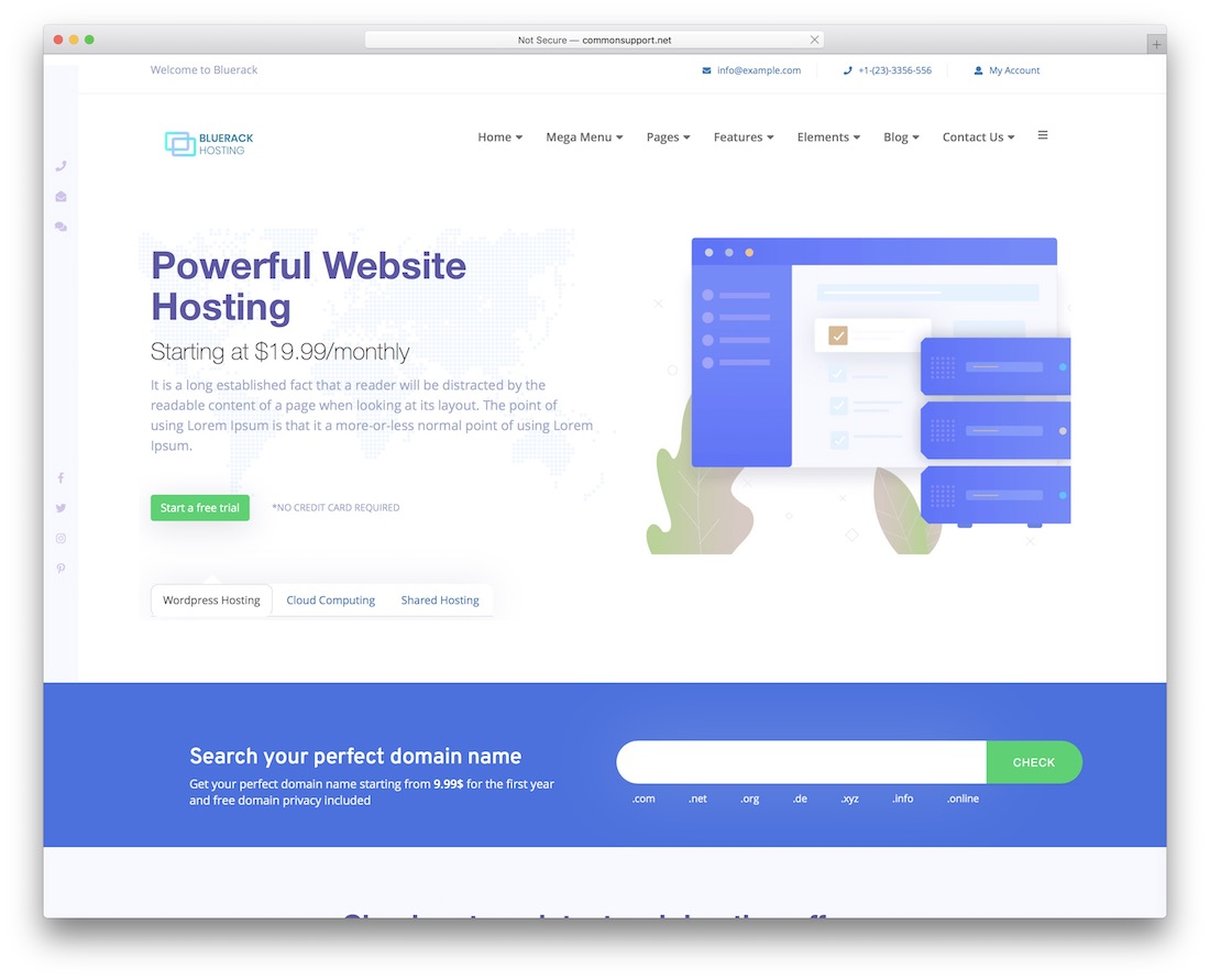 bluerack web hosting website template