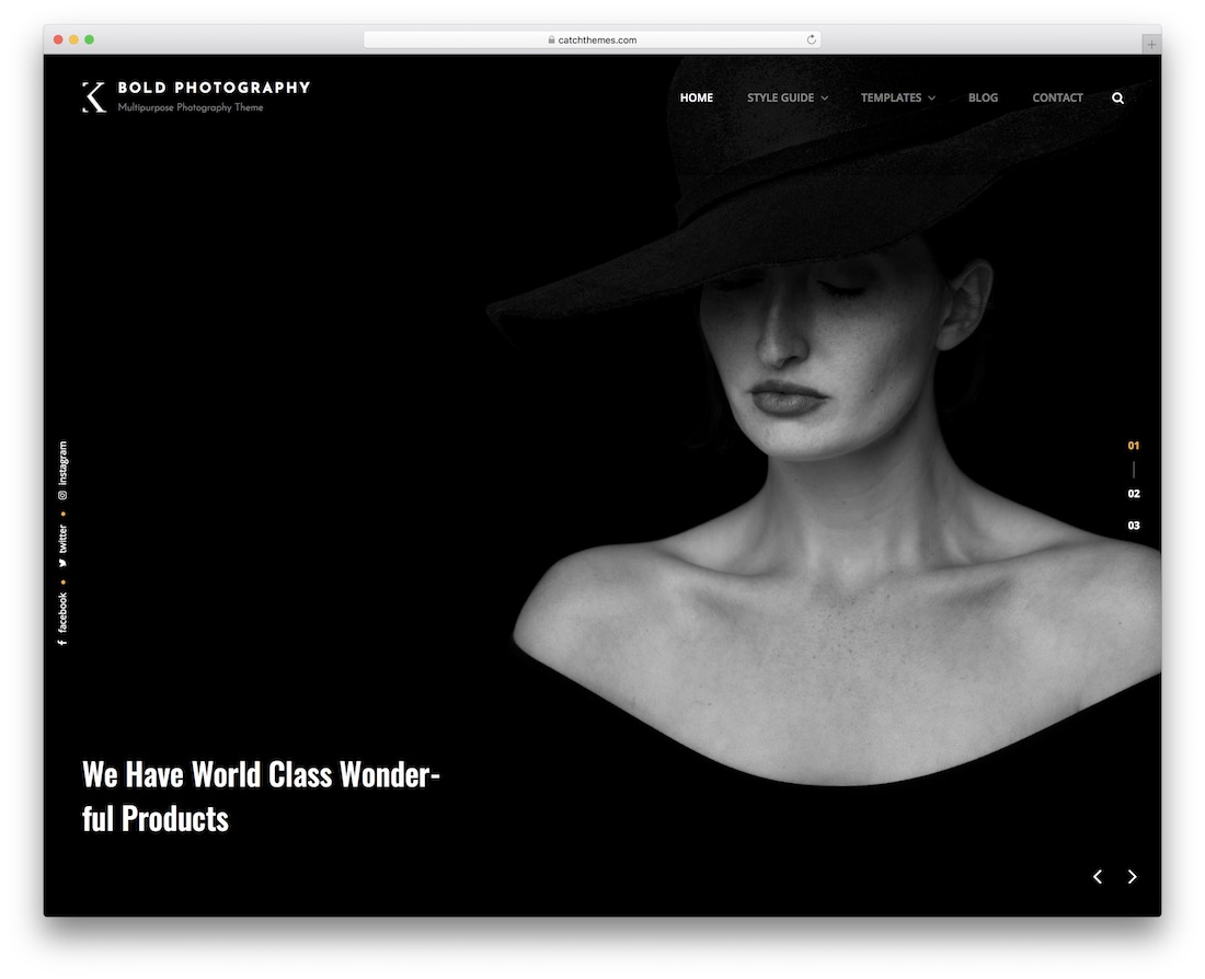 bold free photography wordpress theme