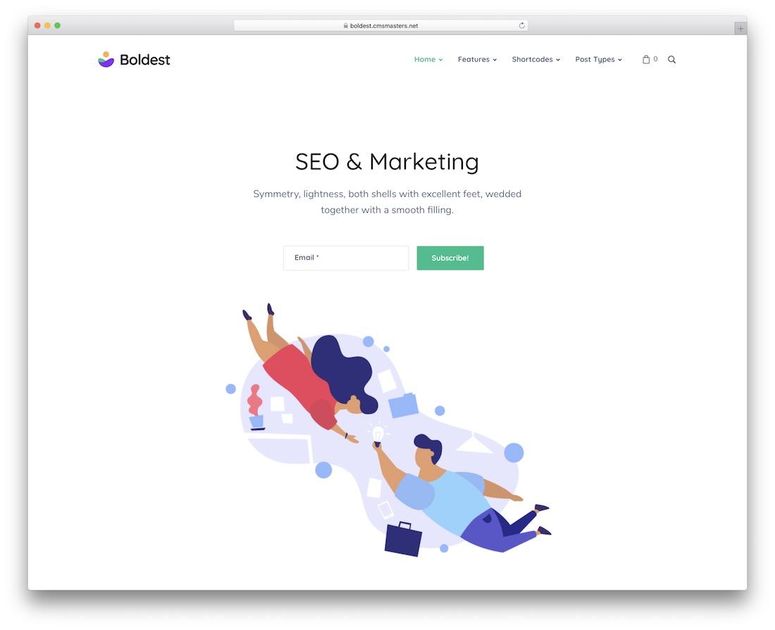 boldest marketing website template
