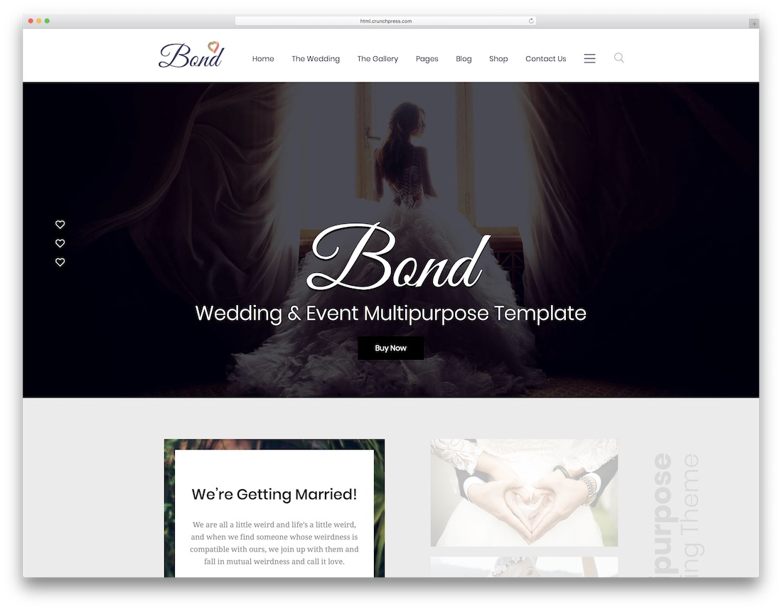 bond html wedding website template