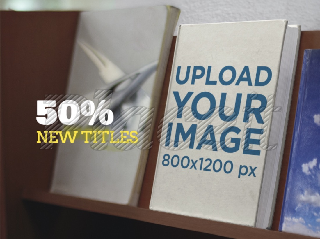 book ad book on a wooden shelf facebook mockup