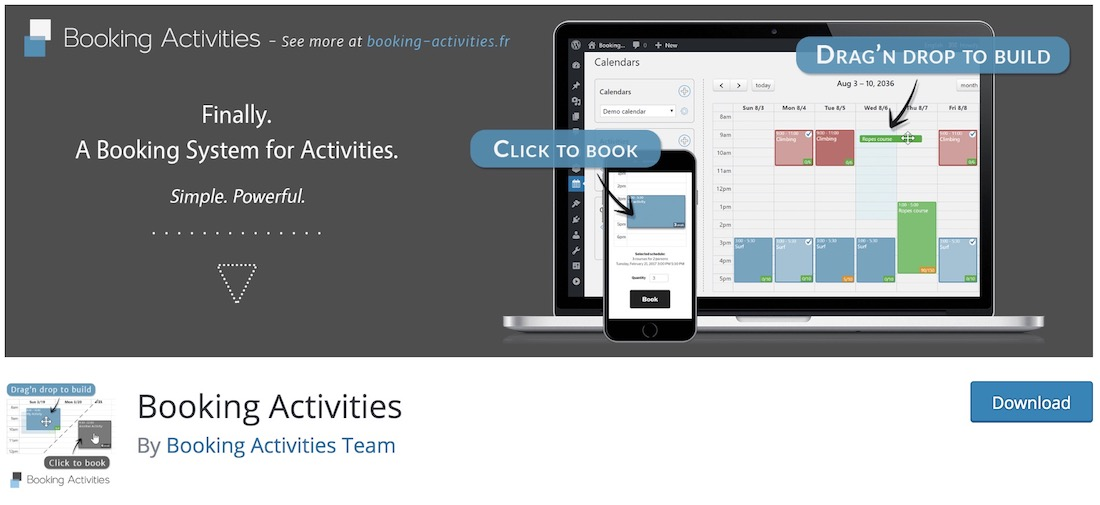 booking activities free wordpress plugin