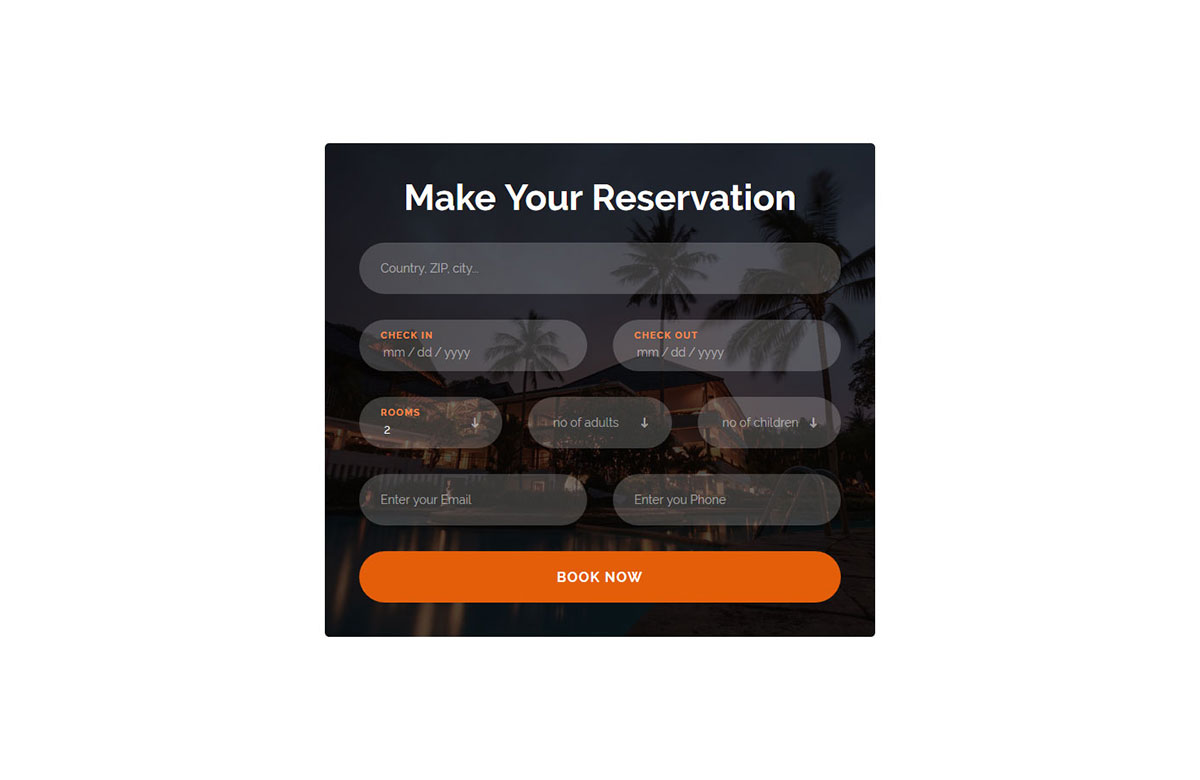 table reservation card template.html