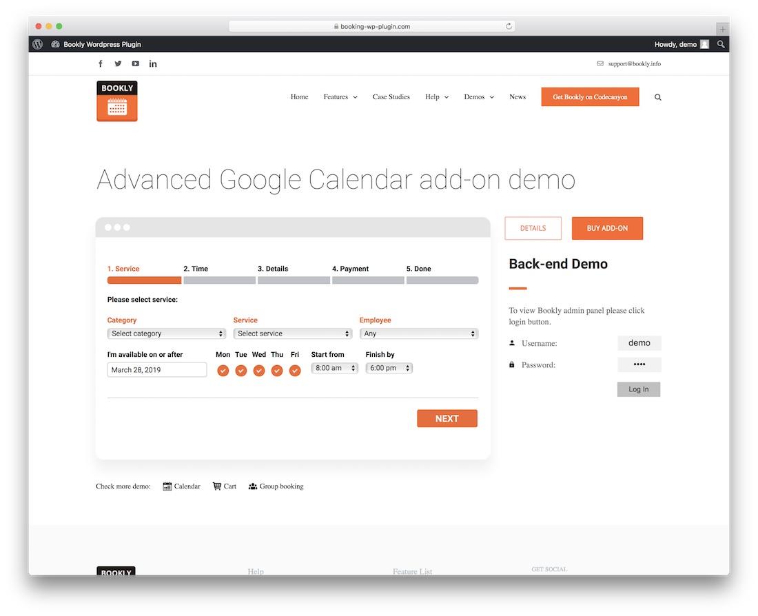 plugin wordpress pour le calendrier google avancé bookly