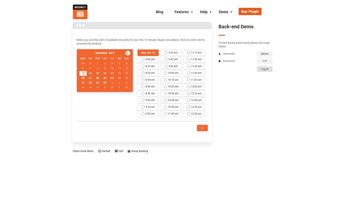 bookly booking and scheduling plugin