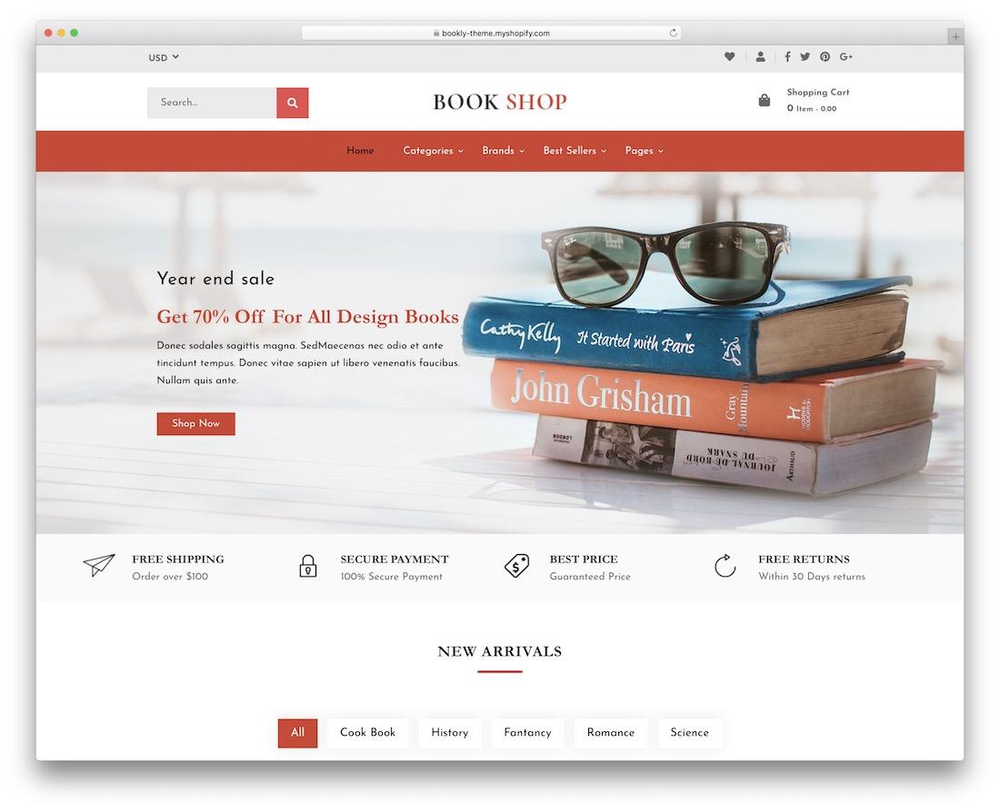 bookly shopify bookstore theme