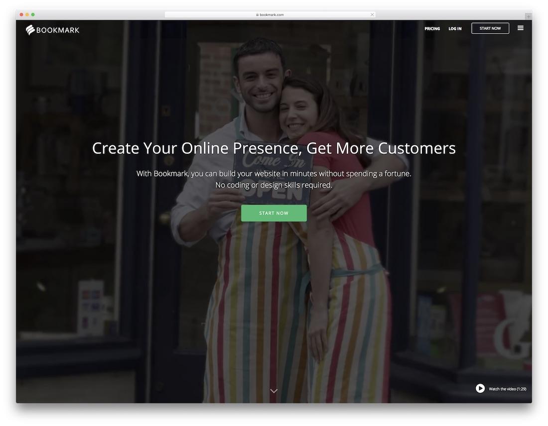bookmark drag and drop website builder