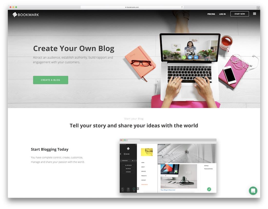 bookmark website builder for blogs