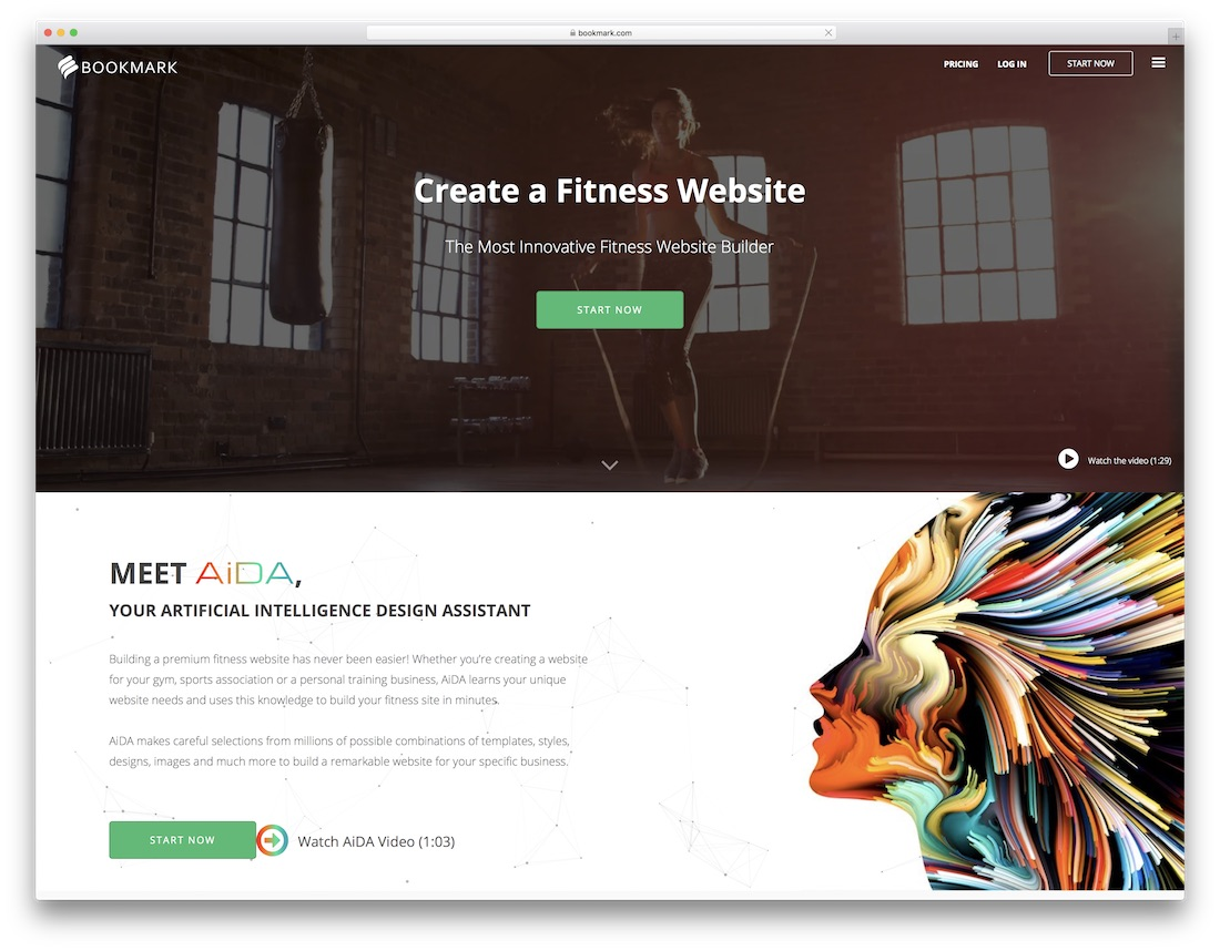bookmark website builder for fitness studio