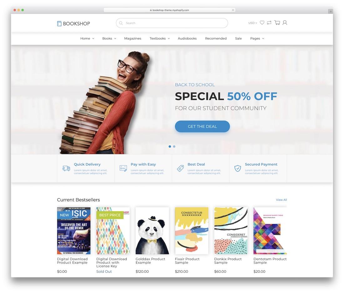 bookshop shopify technology theme