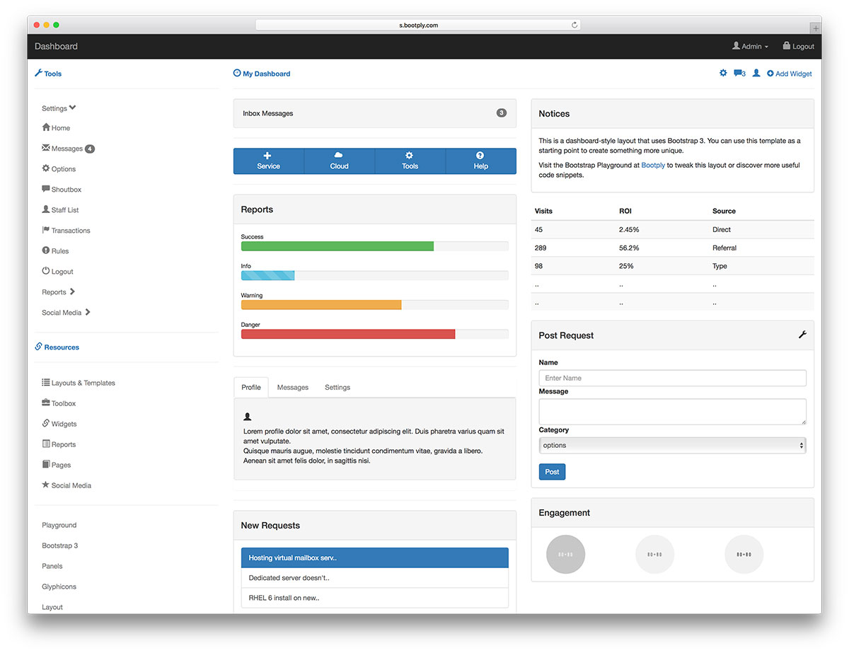 This Is A Starter Template For An Admin Control Panel Or Dashboard The Developers Added Collapsible Tree Menu And Variety Of Panels That You Can Use