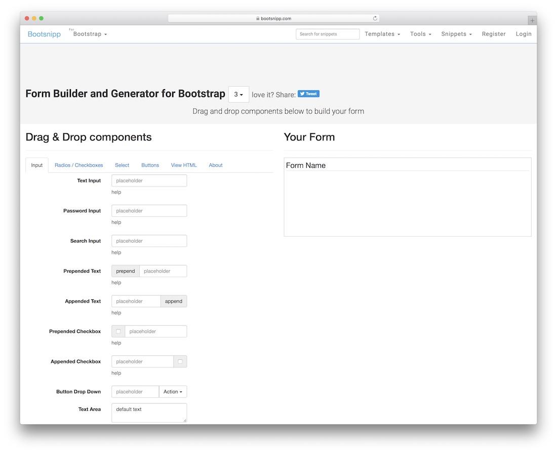 bootsnipp online form builder