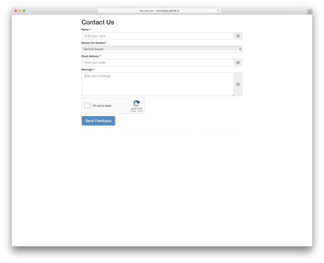 bootstrap 3 contact form with googles recaptcha