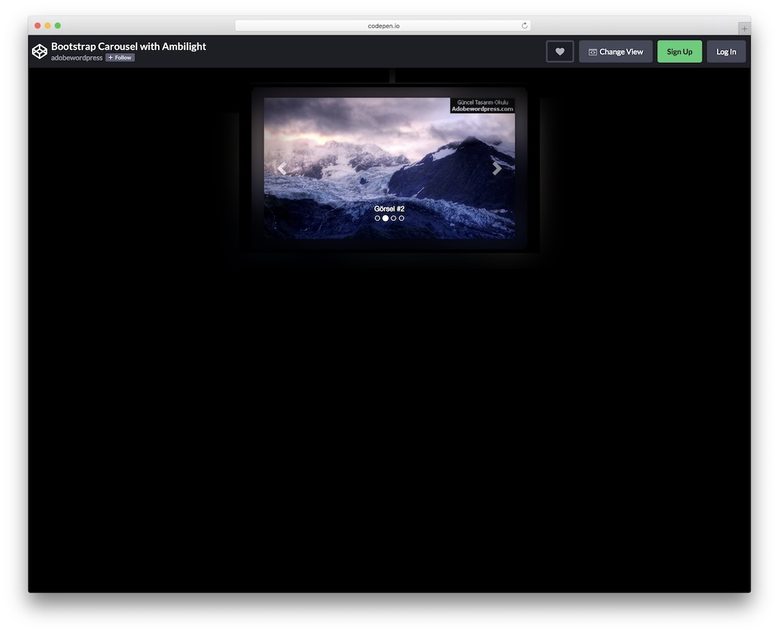 bootstrap carousel with ambilight