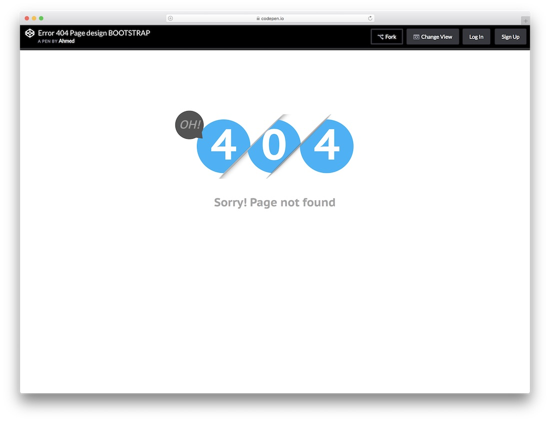 bootstrap free 404 error page template