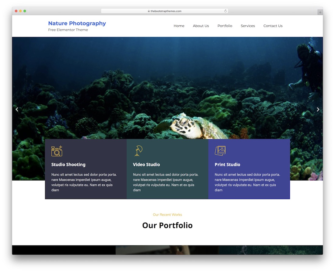 bootstrap photography free wordpress theme