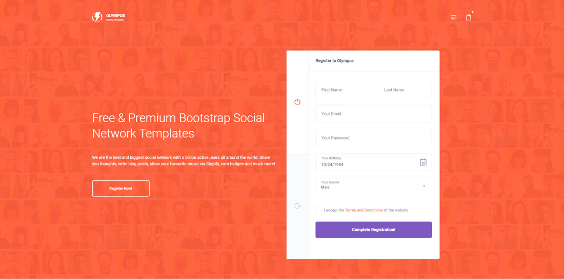 15 Best Free & Premium Bootstrap Social Network Templates 2018 ...