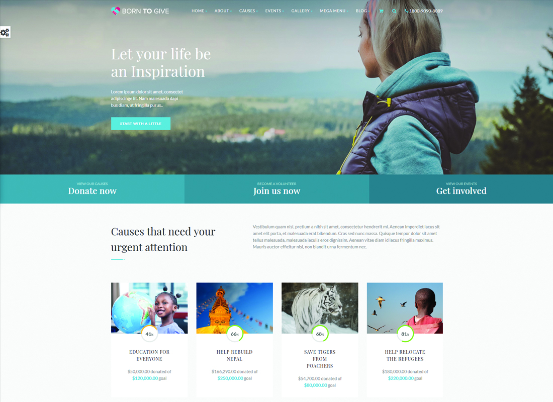 Born To Give | Charity Crowdfunding Responsive WordPress Theme