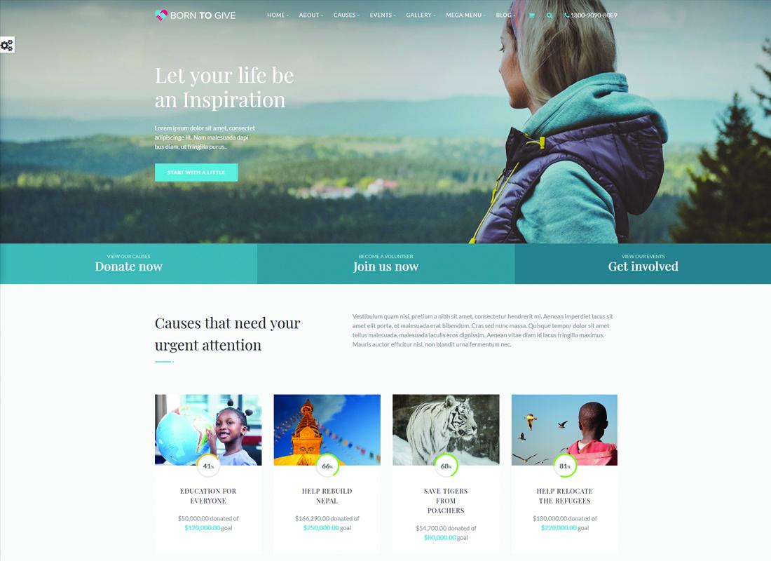 Born To Give   Charity Crowdfunding Responsive WordPress Theme