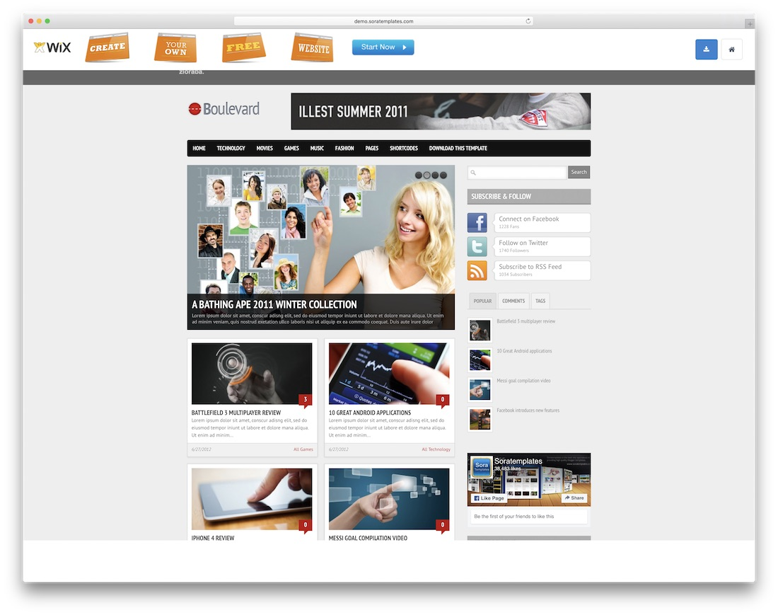 boulevard free blogger template