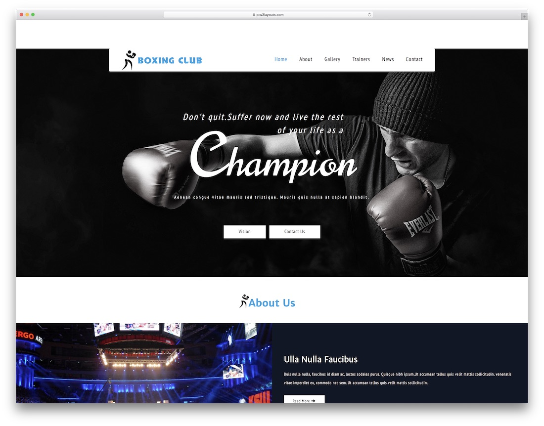 boxing club free fitness website template