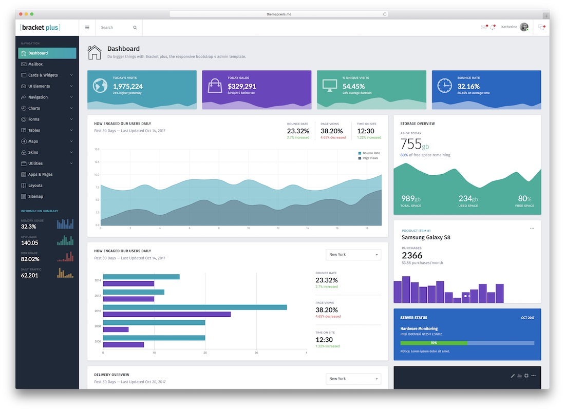 bracket plus bootstrap admin template