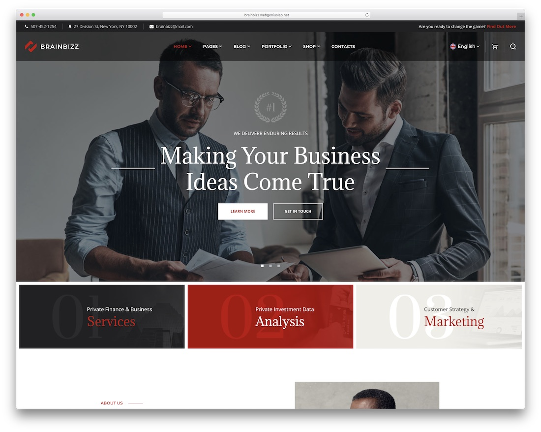 brainbizz financial company wordpress theme