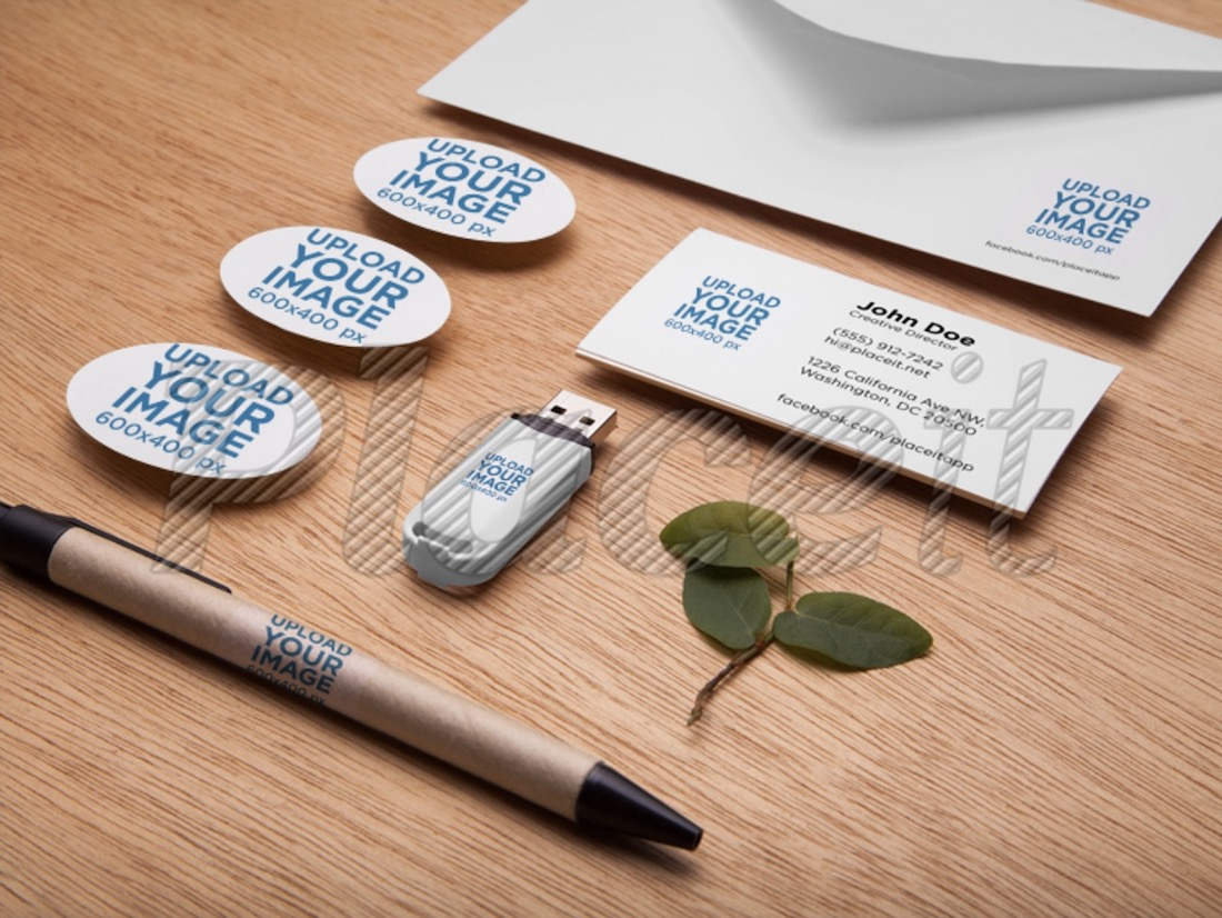 branding mockup featuring office supplies