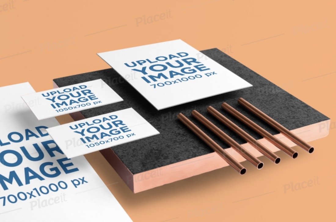 branding stationery mockup with copper items